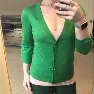 KATE SPADE 💚 KELLY GREEN SILK CARDI GOLD BUTTONS